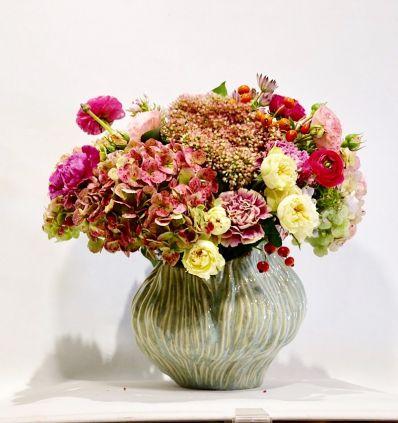 Pot cerámico Verde con Flores