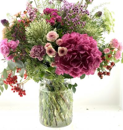 Cristal alto con flores Rosas