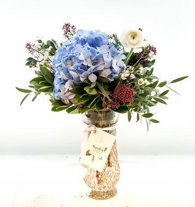 Cristal Ámbar con flores