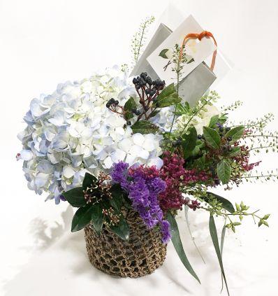 Cesta Crochet con flores