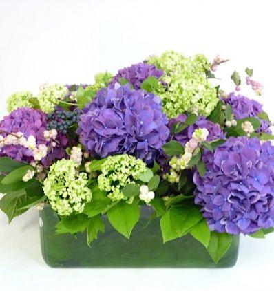 Cuadrado de cristal con flores