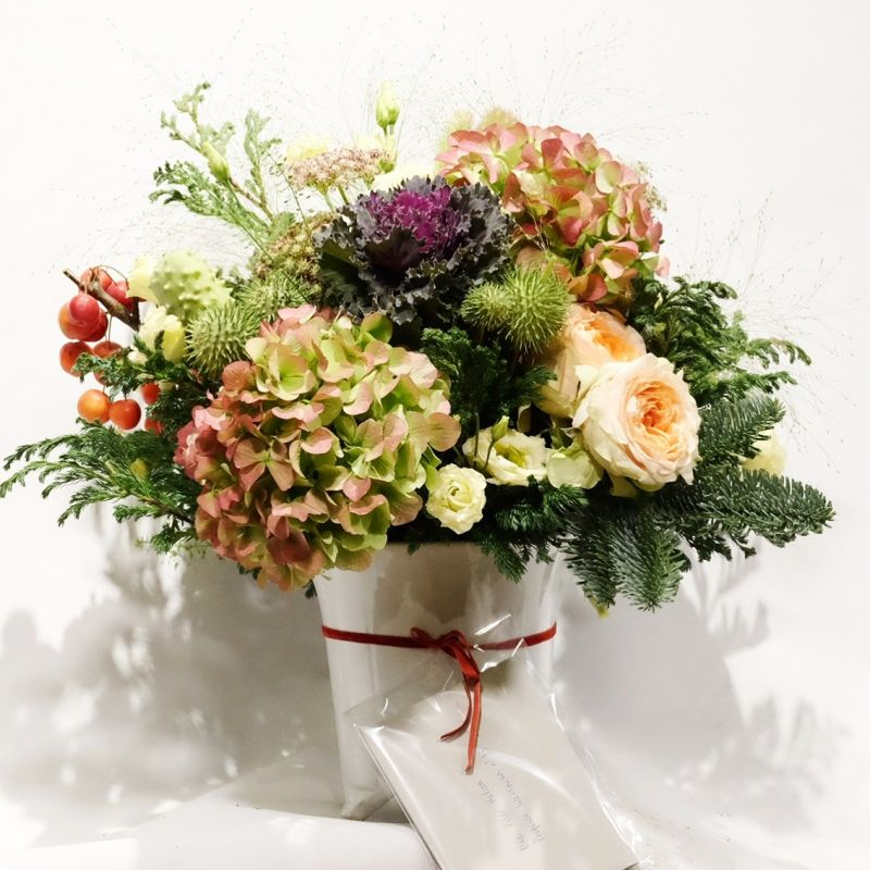 Pot  de Cerámica blanco con flores
